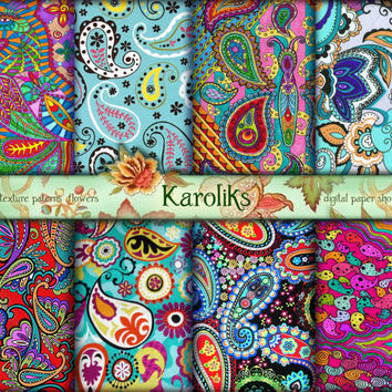 Color Paisley Scrapbook Digital Pattern. Paisley Floral Digital Paper. Paisley Background. Ornament Download. Paisley Decoupage Digital K-51
