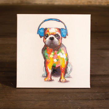Oil Painting- Bull Dog with Blue Headphones