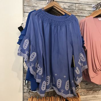Bell Sleeve Blouse, Periwinkle