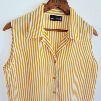 Vintage Striped Sleeveless Blouse Women Mustard Yellow Silky Top Button down Women 80s 90s