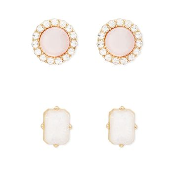 Iridescent Faux Stone Stud Set