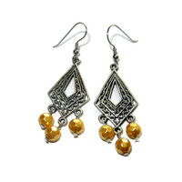 Silver and Golden Yellow Chandelier Dangle Earrings