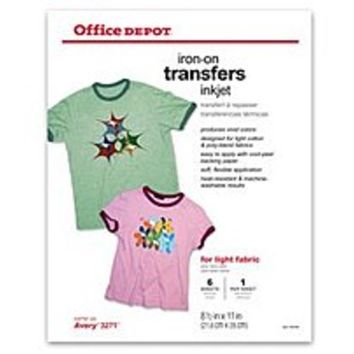 NOB Office Depot Brand Light Fabric O004-516-0902 8.5 x 11 inches Inkjet Iron-On Transfers - 6-Pack - White
