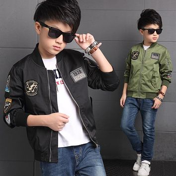 2018 Spring Autumn Jackets for Boys Coat Bomber Jacket Army Green Boy's Windbreaker Winter Jacket Kids Children Jacket