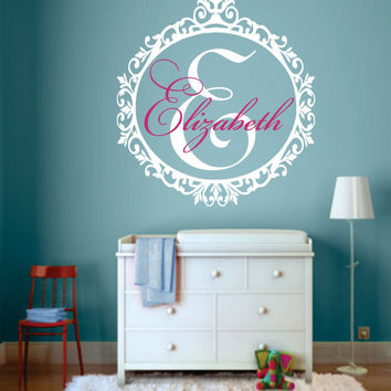 "Custom Name Decal - GirlsTeen Bedroom - Nursery Name Decal - Large Monogram Vinyl Wall Decal - Script Elegant Shabby Chic Design 22""H x 20""W"