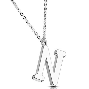 BodyJ4You Necklace Letter N Initial Alphabet Charm N Stainless Steel Chain