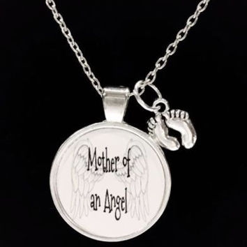 Mother Of An Angel Baby Footprints In Memory Quote Angel Wing Necklace