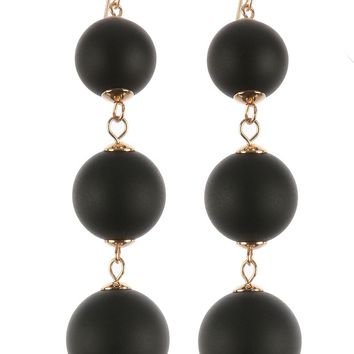 Black Three Layer Color Wooden Ball Earring