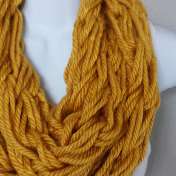 Mustard Yellow Arm Knitted Infinity Scarf Mustard Fashion Arm Knit Fashion Scarf Womens Knitted Scarves Girls Fall Knit Scarf Mustard Scarf
