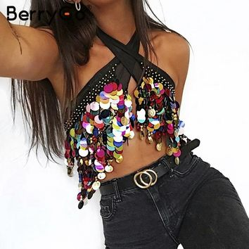 BerryGo Lace up punk crop top women Black beading summer beach short top tees Sexy club chain sequin tassel chiffon tube top