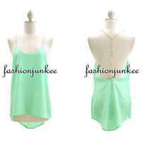 MINT GREEN CHAIN BACK TANK Top Open Back Sexy Shirt Clubwear Unbalanced S M L XL