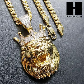 Mens Iced Out Lab Diamond Gold PT King Lion Face Pendant w/ 4mm Cuban Chain B05G