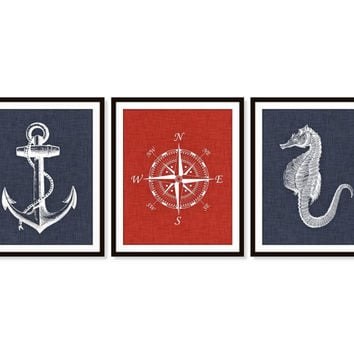 Nursery Print Anchor Seahorse Compass Nautical Art Prints Wall Decor - Childrens Art, Boys Wall Decor, Nursery Decor, Home Decor