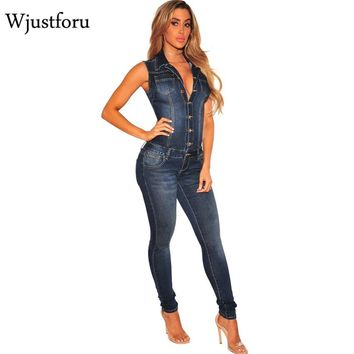 Women's Clothing Vazn 2018 New Fashion Casual Women Denim Jumpsuit Full Sleeve Turn-down Collar Sashes Women Jumpsuit Sy0806 Last Style