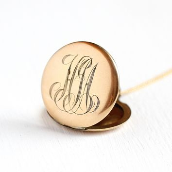 "Monogrammed ""HJA"" Locket - Antique 12k Rosy Yellow Gold Filled Round Pendant Necklace - Vintage 1900 Edwardian Initials Personalized Jewelry"