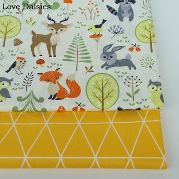 100% cotton twill cartoon OFF-WHITE animals fox deer forest yellow tri angle fabrics for DIY kids crib bedding sheet handwork