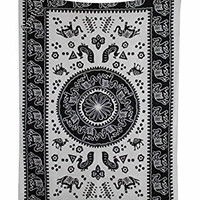 """Amitus Exports ® 1 X Camel Elephant Peacock 80""""x54"""" Approx. Inches Black & White Color Twin Size Cotton Fabric Multi-Purpose Handmade Tapestry Hippy Indian Mandala Throws Bohemian Tapestries"""