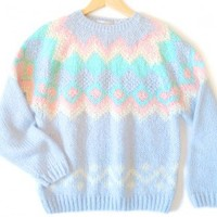 Shop Now! Ugly Sweaters: Thick Fluffy Soft Vintage 80s Pastel Acrylic Ugly Ski Sweater Women's Size Large (L) $18 - The Ugly Sweater Shop