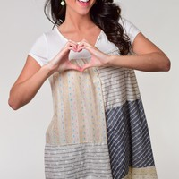 12 PM by Mon Ami Ivory Patchwork Design Tunic Dress