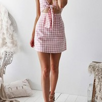 Pink Plaid Cut Out Ribbons Zipper Pockets V-neck Mini Dress