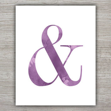 Purple Watercolor Artwork Watercolor Printable, Purple Wall Decor Printable Modern Poster, Ampersand Sign Minimalist Poster INSTANT DOWNLOAD