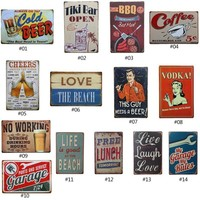 Wine / Whiskey / Beer / Cocktail Vintage Retro Home Decor Tin Sign Metal Sign Bar / Pub / Garage Metal Plate Metal Wall Decoration Pos