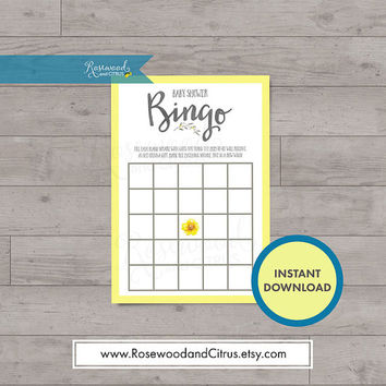 Yellow and Grey Baby Shower, Baby Shower Bingo, Baby Shower Games, Floral Baby Shower, Baby Shower Gender Neutral, Baby Shower Printables