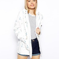 ASOS Rain Trench In Anchor Print - Blue