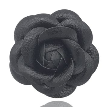 MISASHA Black PU leather Camellia Brooch