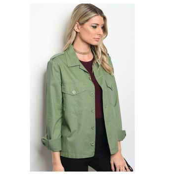 Adorable Me, Deep Sage Button Up Blazer, Jacket