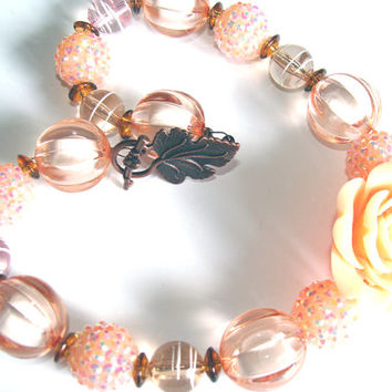 Chunky Peach Beaded Necklace Toddler To Girls Peach Rose Rhinestone Bling