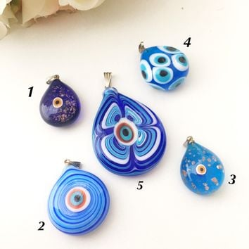 Nazar boncuk pendant, murano glass evil eye pendant, evil eye protection pendant, lamp work evil eye, lamp work pendant, murano glass charm