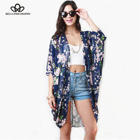 2015 New Ladies' elegant floral print Kimono outwear loose vintage non-button coat cardigan casual brand design tops navy blue