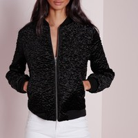 Missguided - Wool Bomber Jacket Black