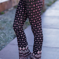 Boho Bursts Bell Bottom Legging (Black)