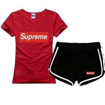 Superme Women Men Fashion Cotton Sport Shirt Shorts Set Two-Piece Sportswear