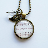 Music Pendant Necklace - Great Is Thy Faithfulness - Inspirational Jewelry - Music Jewelry - Hymn - You Choose Bead and Charm - Customize