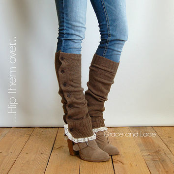 The Miss Molly - Lt. Brown Soft Slouchy Button Down Leg Warmers w/ Ivory Knit Lace- legwarmers boot socks boot warmers (item no. 7- 3)
