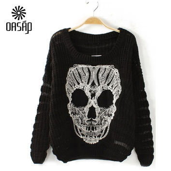 OASAP women sweaters and pullovers fashion O-Neck Long Sleeve Loose Print Skull Cutout-34840