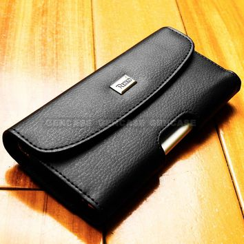 Flip Cell Phone Case Black Leather Cover Samsung Apple LG Pouch With Belt Clip