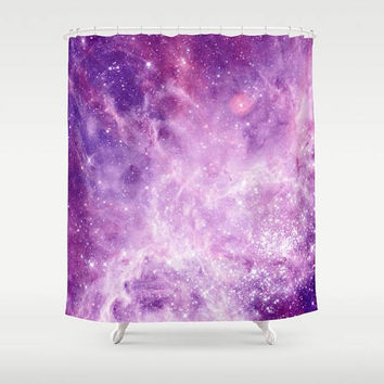 Purple Galaxy Shower Curtain  - Nebula stars, night sky galaxy, solar system, galaxies, lavender and purple,  bathroom decor, home