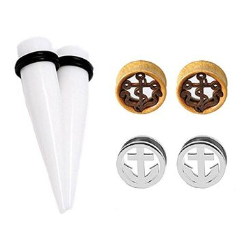 BodyJ4You 6PCS Ear Gauges 12mm Plugs Set Stainless Steel and Wood Achor Tunnels Stretching Kit 1/2""