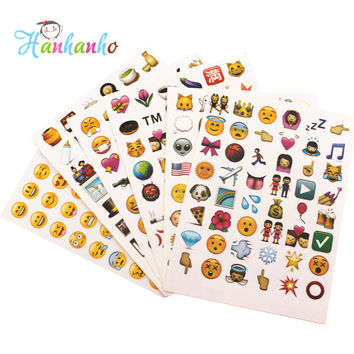 6 sheets Pack Popular Emoji Sticker For Notebook Smile Face Emoticon Classic Toy Funny Laptop Sticker Popular Cute Diet