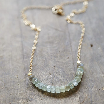 Moss Aquamarine and Labradorite Necklace, Aquamarine Gold Necklace, Layering Necklace, Aquamarine Rondelle Jewelry, March Birthstone