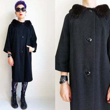 50s Clothes / Vintage 1950's Black Swing Coat with Dark Brown Real Fur Collar Soft Felt Fur Coat Warm Winter Coat Womens Size Medium Large