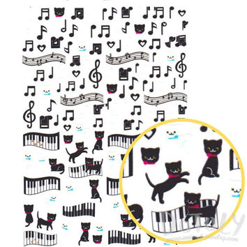 Kitty Cat Piano Music Quaver Notes Treble Clef Shaped A5 Sticker Sheet | Cute Animal Themed Scrapbook Decorating Supplies