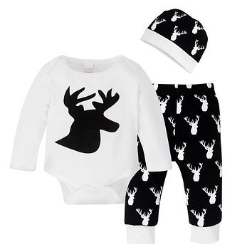 3pcs Christmas Clothing Sets Baby Boys Girls Long Sleeves Elk Print Jumpsuit + Pants + Hat Outfits Children Casual Clothes