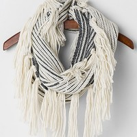 Women's Fringe Scarf in Silver/Cream by Daytrip.