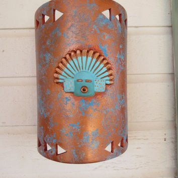 Kachina mask 3D on a copper painted patina wall light made to order in NM USA