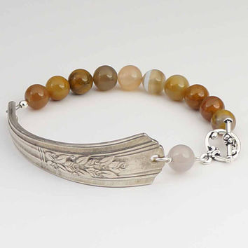 Silverware bracelet with golden agate beads, earthtones jewelry 7 1/2 inches
